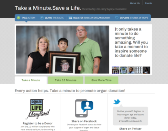 Take a Minute, Save a Life website
