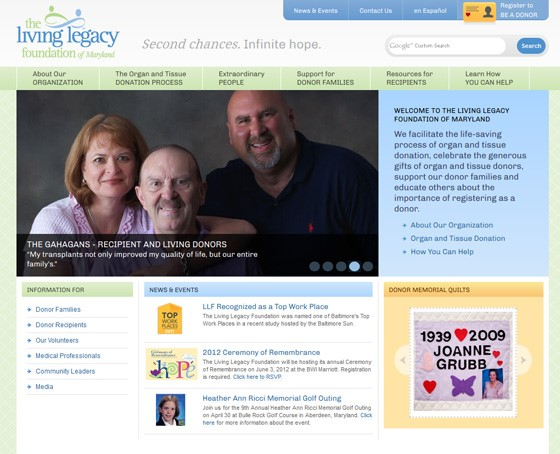 The Living Legacy Foundation website
